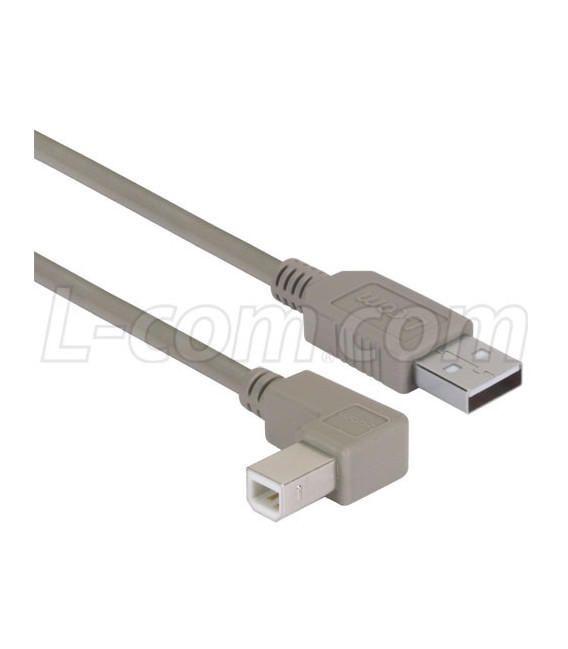 Cable USB tipo A 90º - tipo B, 75 cms