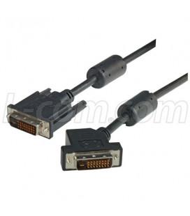 DVI-D Dual Link DVI Cable Male / Male 45 Degree Left, 1.0 ft