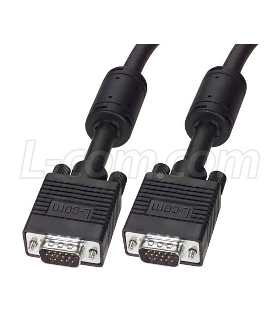 VGA Cable, HD15 Male / Male, Black 5.0 ft
