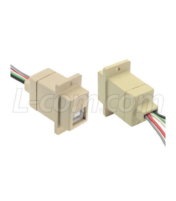 Conector USB Tipo A Hembra Negro con cable de 25cm