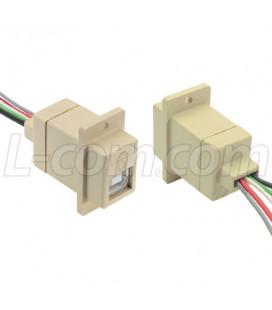Conector USB Tipo B Hembra Blanco con cable de 25cm
