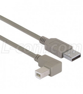 Right Angle USB Cable, Straight A Male / Right Angle B Male, 5.0m