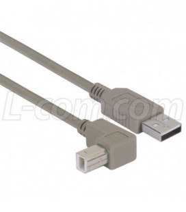 Right Angle USB Cable, Straight A Male / Up Angle B Male, 0.75M