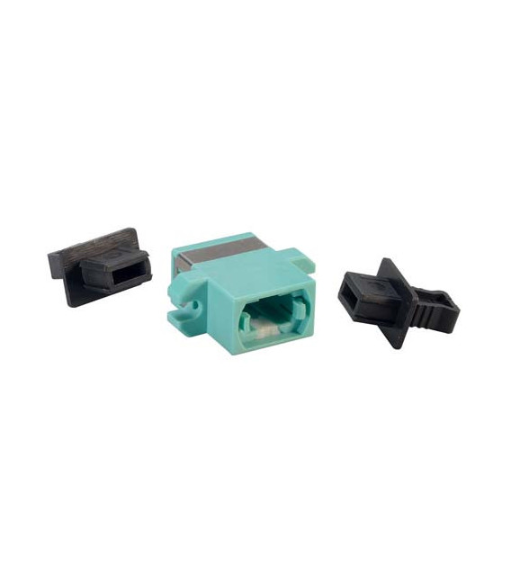 Fiber Optic MPO Coupler, Aqua w/ Mounting Flange