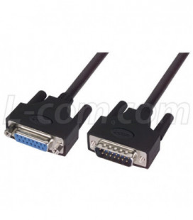 LSZH D-Sub Cable, DB15 Male / DB15 Female, 1.0 ft