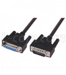 LSZH D-Sub Cable, DB15 Male / DB15 Female, 2.5 ft