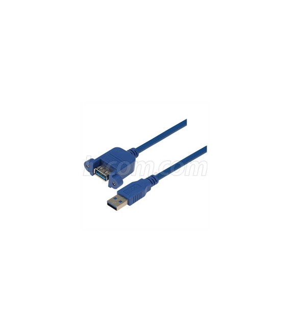 USB 3.0 Type A Female Bulkhead/Male, 0.3m