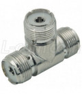 Coaxial 50 Ohm T Adapter, UHF Female / Female / Female