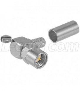 SMA Male Crimp, Right Angle Shrouded for RG58, 195-Series Cable