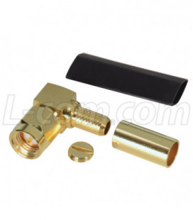 SMA Male Crimp, Right Angle for RG58U Cable (Gold)