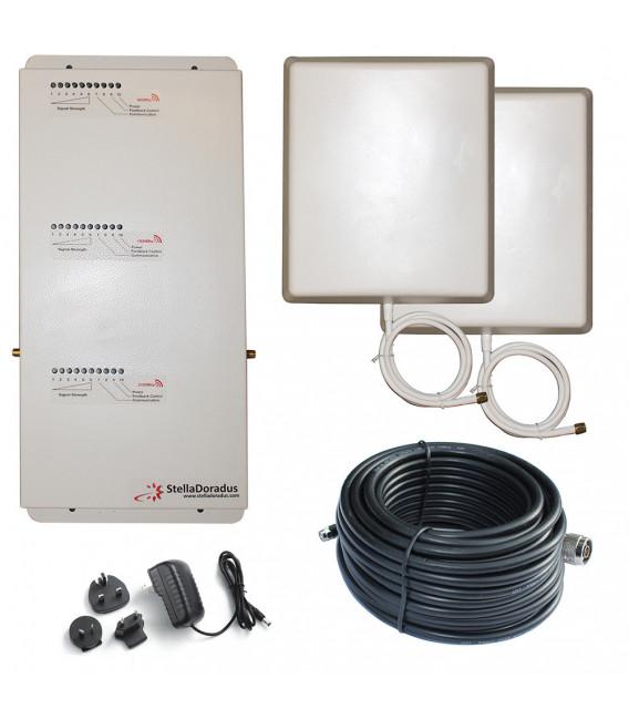 Kit Repetidor de señal Tri Banda 900, 1800, 2100 MHz GSM 3G 4G