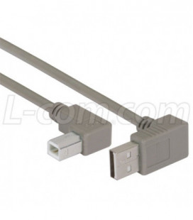 Right Angle USB cable, Up Angle A Male/ Left Angle B Male, 0.3m