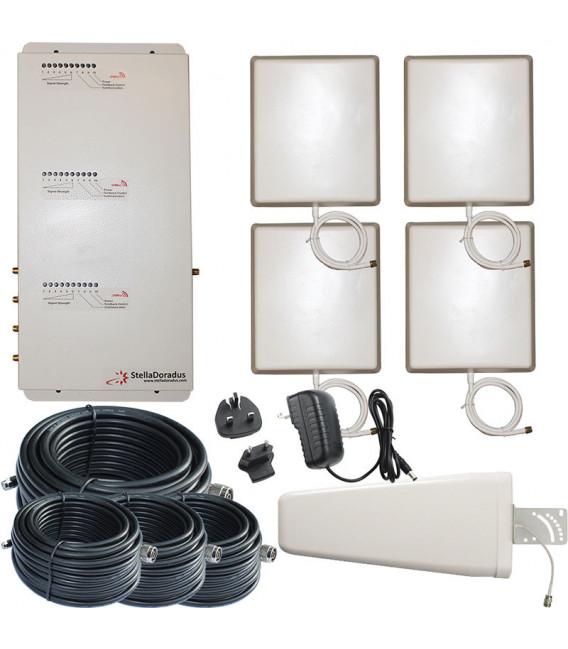 Kit Repetidor de señal, 4 salidas, Tri banda 800, 900, 2100 MHz GSM 3G 4G*