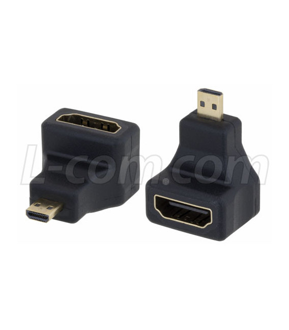 HDMI Type D Male to HDMI Type A Female Right Angle Adapter