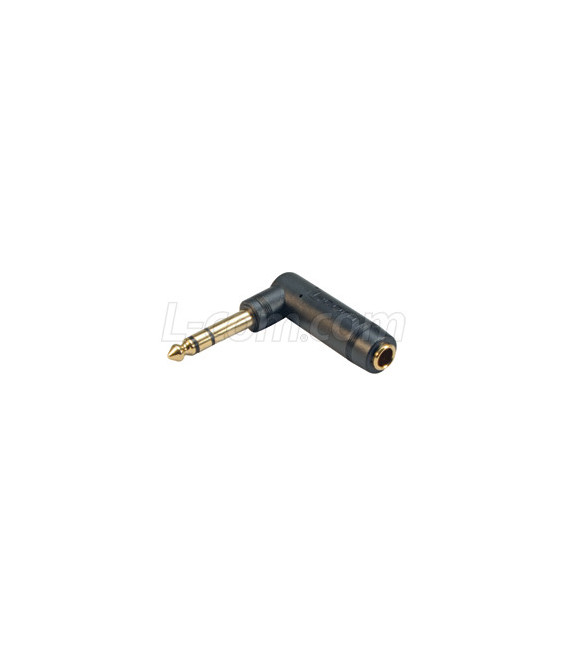 """Right Angle TRS 1/4"""" Adapter, Male to Female"""