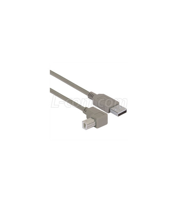 Right Angle USB Cable, Straight A Male / Up Angle B Male, 0.5m