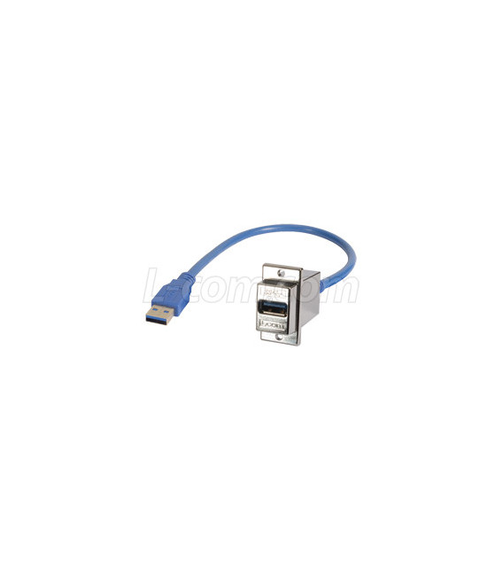 USB 3.0 Type A Coupler, Female Blkhd/Male, 0.3m