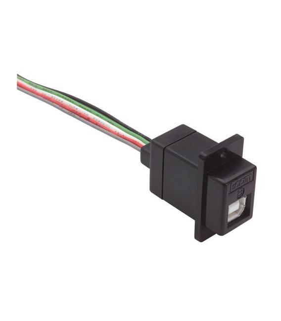 Conector USB Tipo B Hembra Negro con cable de 25cm