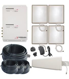 Kit Repetidor de señal, 4 salidas, doble banda 900 y 2100 MHz GSM 3G