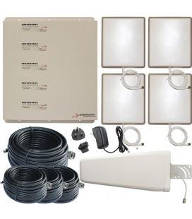 Kit Repetidor de señal, 4 salidas, 5 bandas 800,900,1800,2100,2600 MHz GSM 3G 4G
