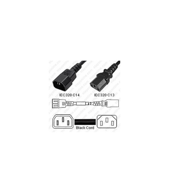 AC Power Cord IEC 60320 C14 Plug to C13 Connector 10 Feet 10a/250v 18/3 SJT