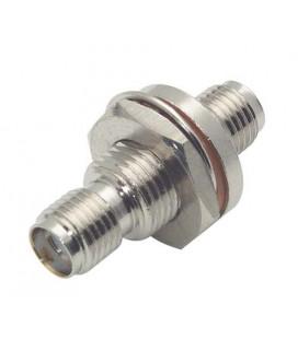 Coaxial Adapter, SMA Female / Female Bulkhead - D-Hole