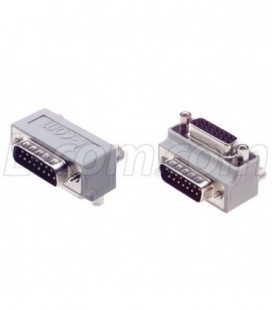 Low Profile Right Angle Adapter, DB15 Male / Female, Cable Exit 1