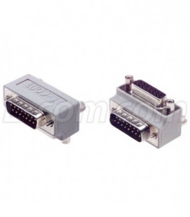 Low Profile Right Angle Adapter, DB15 Male / Female, Cable Exit 2