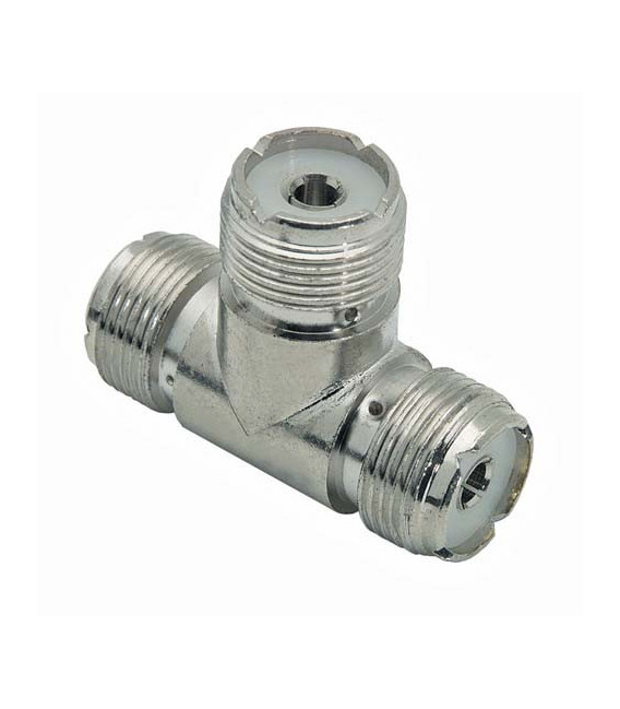Coaxial T Adapter, UHF Female / Female / Female