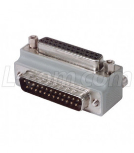 Low Profile Right Angle Adapter, DB25 Male / Female, Cable Exit 1