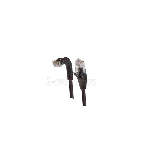 Category 5E Right Angle Patch Cable, Straight/Right Angle Down, Black 3.0 ft
