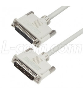 Premium Molded D-Sub Cable, DB25 Male / Female, 25.0 ft