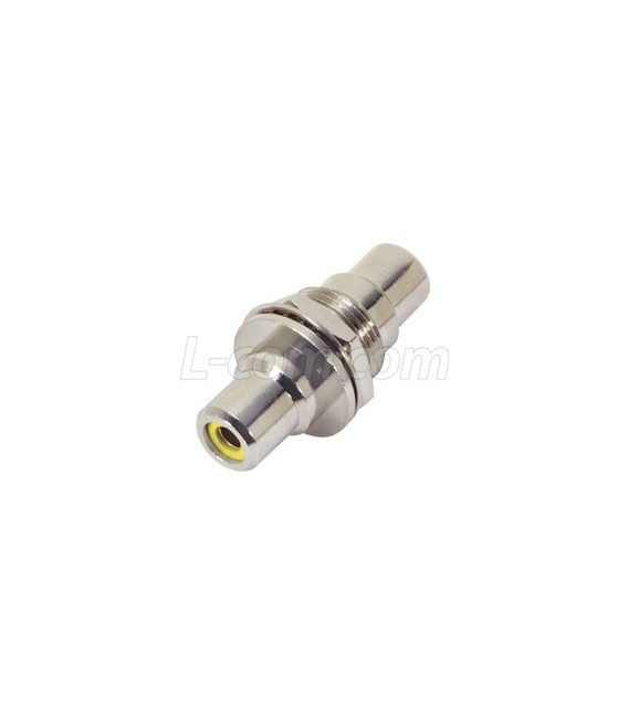 "Coaxial Adapter, RCA Bulkhead Female / Female, 0.5"" D-Hole ,Yellow"