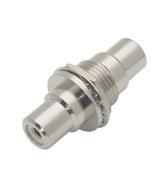 "Coaxial Adapter, RCA Bulkhead Female / Female, 0.5"" Circular Hole, White"