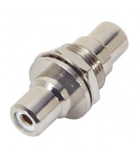 "Coaxial Adapter, RCA Bulkhead Female / Female, 0.5"" D-Hole, White"