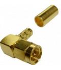 Conector SMA macho Acodado 90º crimpar LMR/CA-195 RG58, dorado