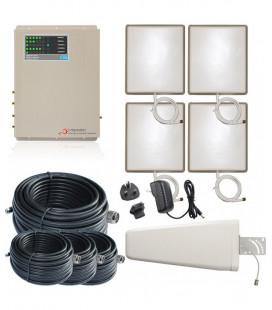 Kit Repetidor de señal Irepeater, 4 salidas, 5 bandas 800, 900, 1800, 2100, 2600 MHz GSM 3G 4G
