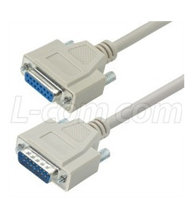Reversible Hardware Molded D-Sub Cable, DB15 Male / Female, 10.0 f