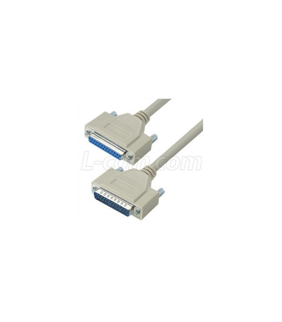 Reversible Hardware Molded D-Sub Cable, DB25 Male - Female, 1 ft