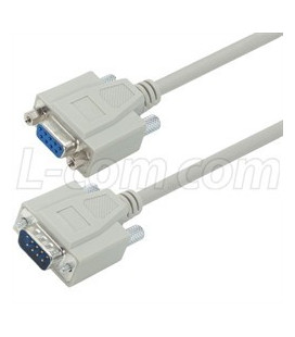 Deluxe Molded D-Sub Cable, DB9 Male / Female, 1.0 ft