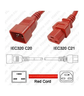 Cord C20/C21 Red 0.9m / 3' 20a/250v 12/3 SJT