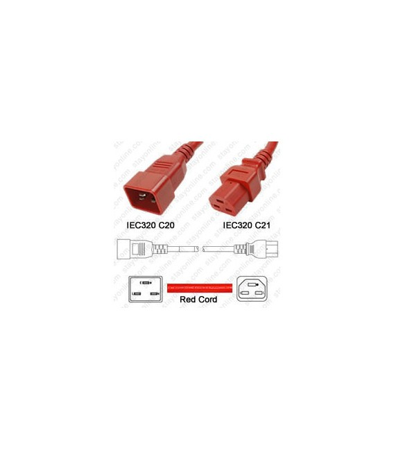 Cord C20/C21 Red 1.5m / 5' 20a/250v 12/3 SJT