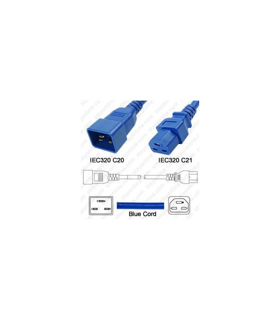 Cord C20/C21 Blue 0.9m / 3' 20a/250v 12/3 SJT