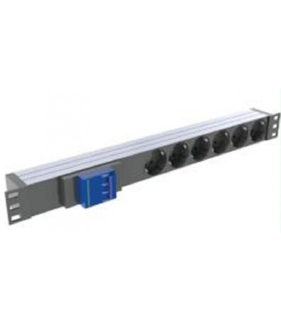 Regleta metalica- Rack 6 enchufes - 1.8m cable con magnetotermico 16A