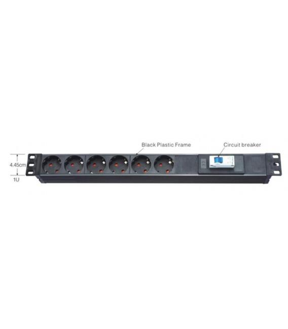 Regleta plástica- Rack 6 enchufes - 1.8m cable con magnetotermico