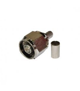 Conector N macho de crimpar malla en cable coaxial, LMR240, ANT. Solderless