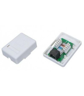 Roseta Cat.6 UTP con 1 conector RJ45 base superficie simple.