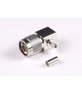 Conector N macho 90º, crimpar, RG58/LMR195