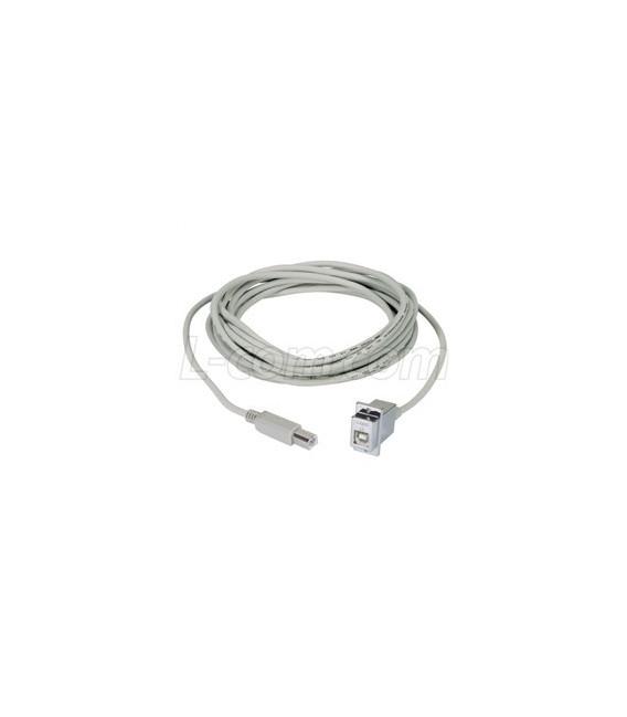 USB Type B Coupler, Female Bulkhead/Male, 24 in.