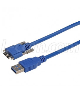 USB 3.0 Cable, Type Micro B/A with Thumbscrew Hardware 3.0M